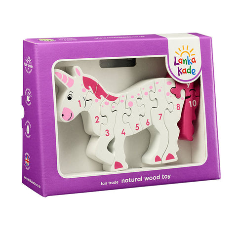 White and pink unicorn jigsaw numbered 1-10