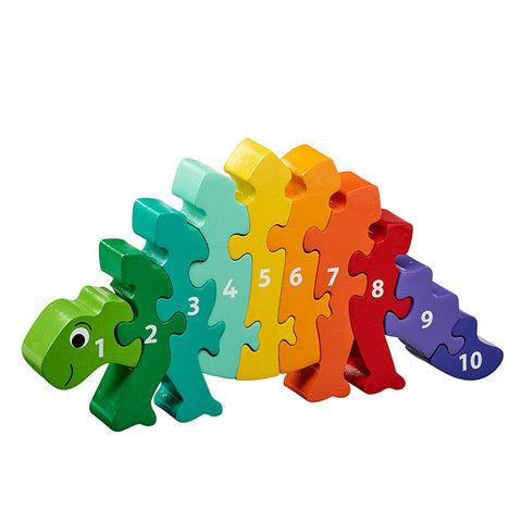 Rainbow coloured dinosaur shaped jigsaw with numbers 1-10