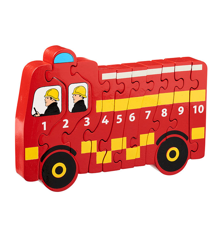 A fire engine shaped jigsaw in a bright red colour.