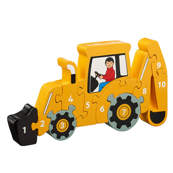 A yellow digger shaped jigsaw with pieces 1-10