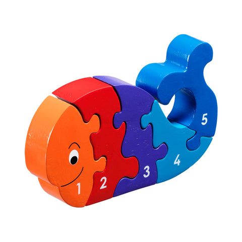 Colourful 5 piece wooden jigsaw shaped as a whale.