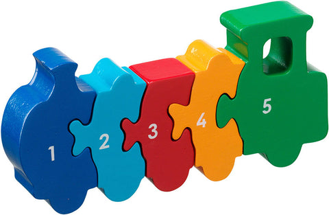 Multi coloured wooden train jigsaw