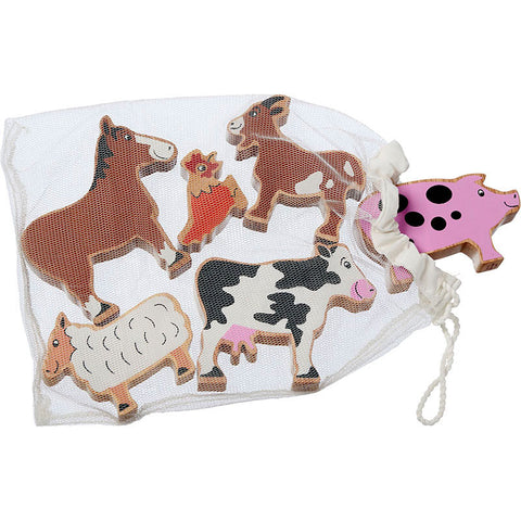6 wooden farm animals in a net bag