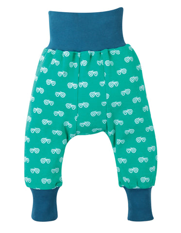 Aqua parsnip pants with tractor all over print