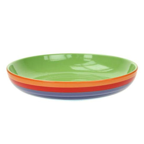 Pasta dish with painted rainbow design and green inner