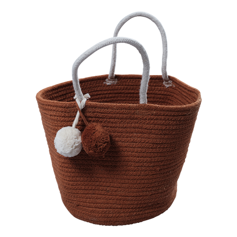 Rope storage basket with tassel detail in Cinnamon colour