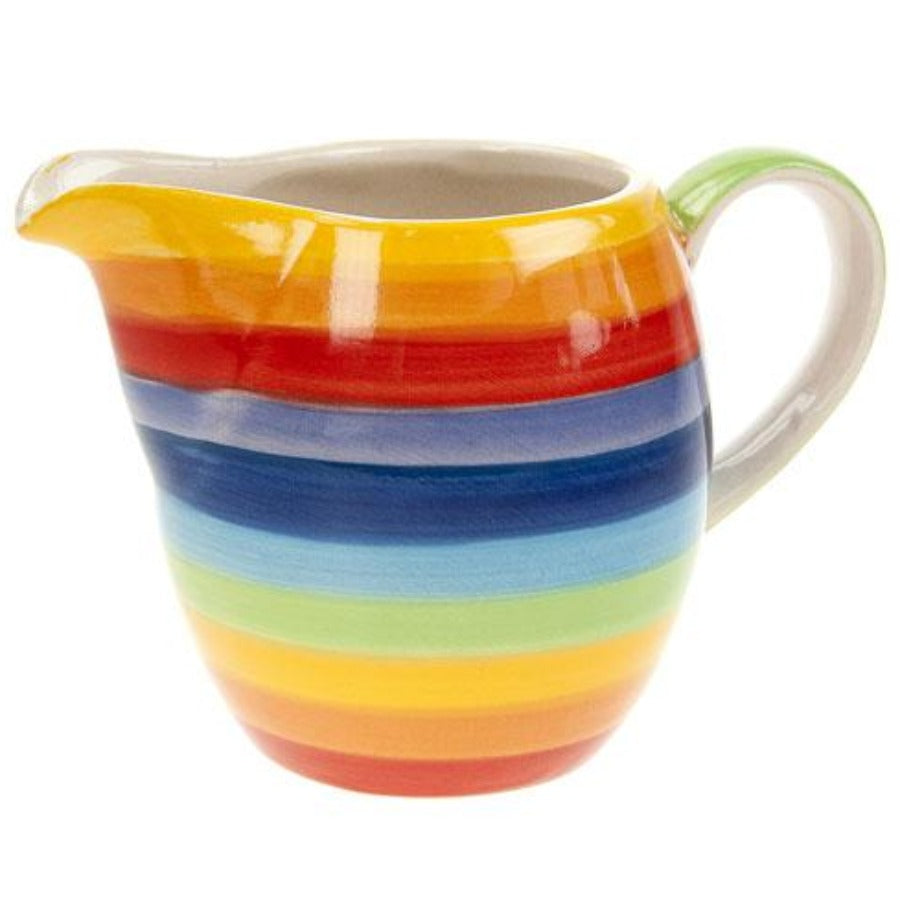 Rainbow painted striped milk jug