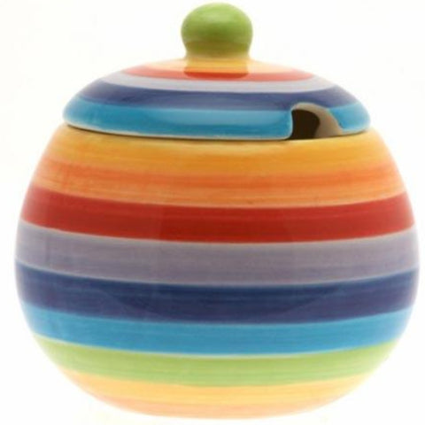 Rainbow painted sugar bowl with lid