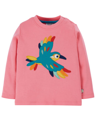 Little discovery applique top pink with bird on the front