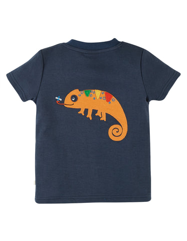 Blue chameleon short sleeved tshirt