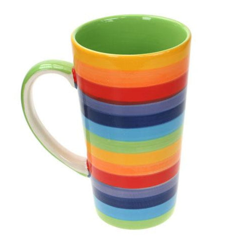 A tall rainbow striped mug
