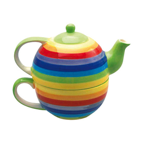 Rainbow coloured tea for one