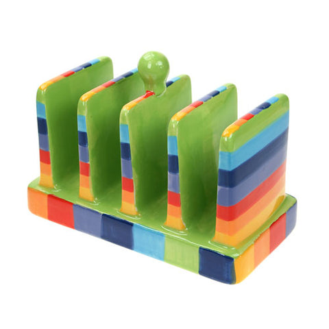 Rainbow coloured toast rack with green inners