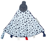 Triangle blanket with teething chew tags and fleece, navy and light blue with stars.