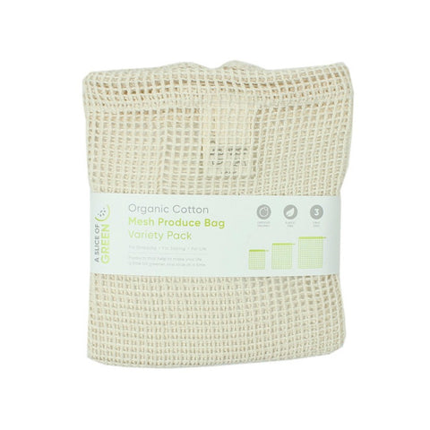 3 pk organic cotton mesh produce bags