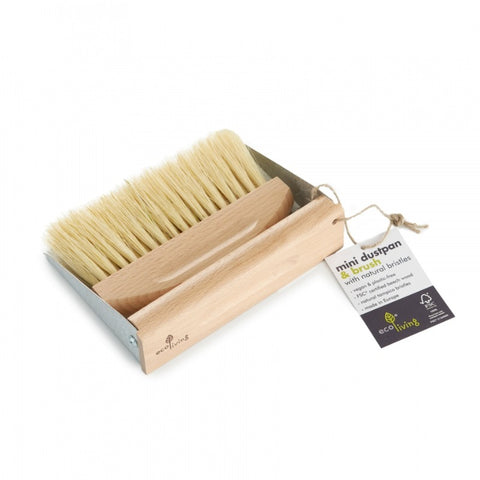 Wooden & steel mini dustpan and brush set.