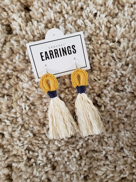 Boho Loop Earrings - Mustard/Navy