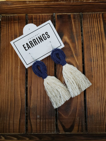 Boho Loop Earrings - Navy