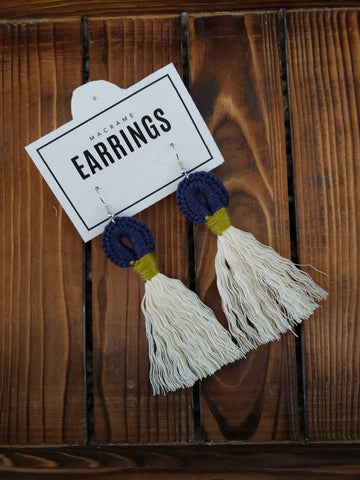 Boho Loop Earrings - Navy/Green