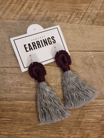 Boho Loop Earrings - Eggplant/Gray