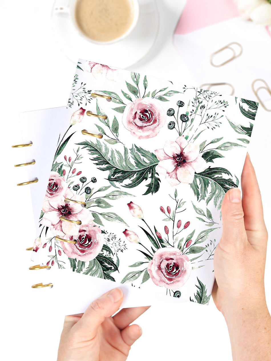 Handmade A5 Floral Planner Binder - Refillable 6 Ring Planner - Medium Wedding Journal - Blossom Diary - 1