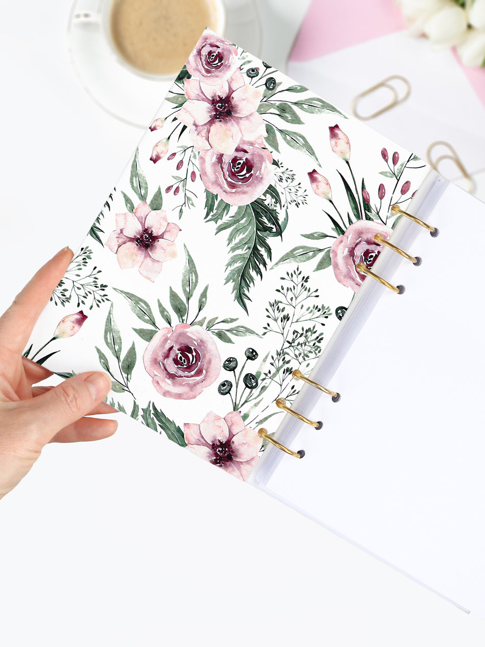 Handmade A5 Floral Planner Binder - Refillable 6 Ring Planner - Medium Wedding Journal - Blossom Diary - 2
