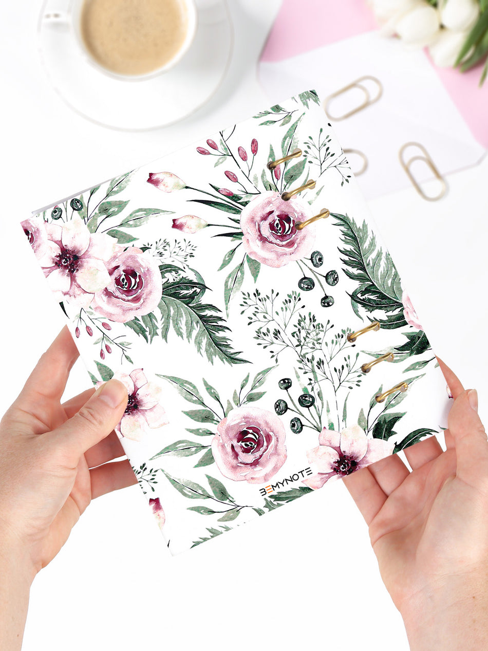 Handmade A5 Floral Planner Binder - Refillable 6 Ring Planner - Medium Wedding Journal - Blossom Diary - 3