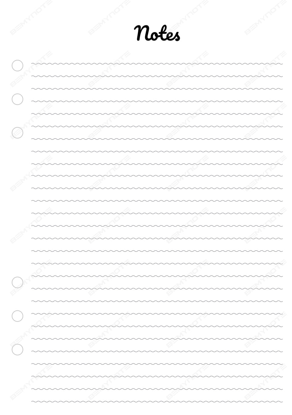 Waves Notes Pages Insert - A5 Printed Inserts for Binder Notebook - 2