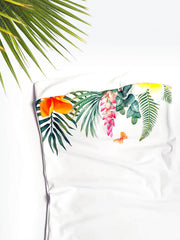 Strapless Summer White Tropical Bandeau Top - Shirt for Big Bust - 2