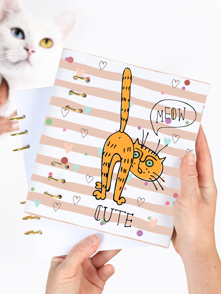 Funny Cat Patterned Journal - Cat Lover Gift Binder Planner - 1