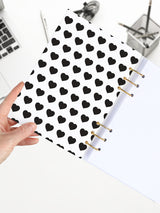 Heart Patterned Ring Notebook - A5 Refillable Designer Journal - 2