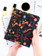 Personalized Black Floral Planner 2021 - Custom Journal with Name - 1