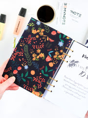 Personalized Black Floral Planner 2021 - Custom Journal with Name - 2