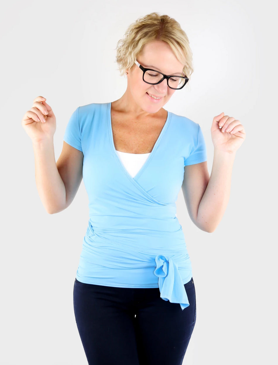 Custom Convertible Unique Baby Blue Short Sleeve Wrap Top - 1
