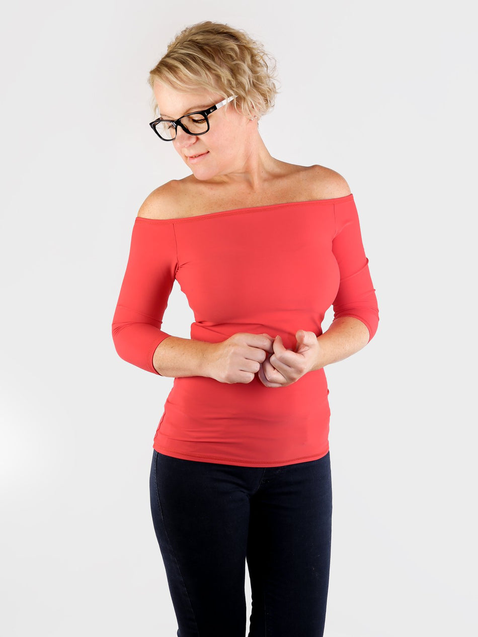 Custom Sexy Fitted Red Women's Off One Shoulder Tops - 1