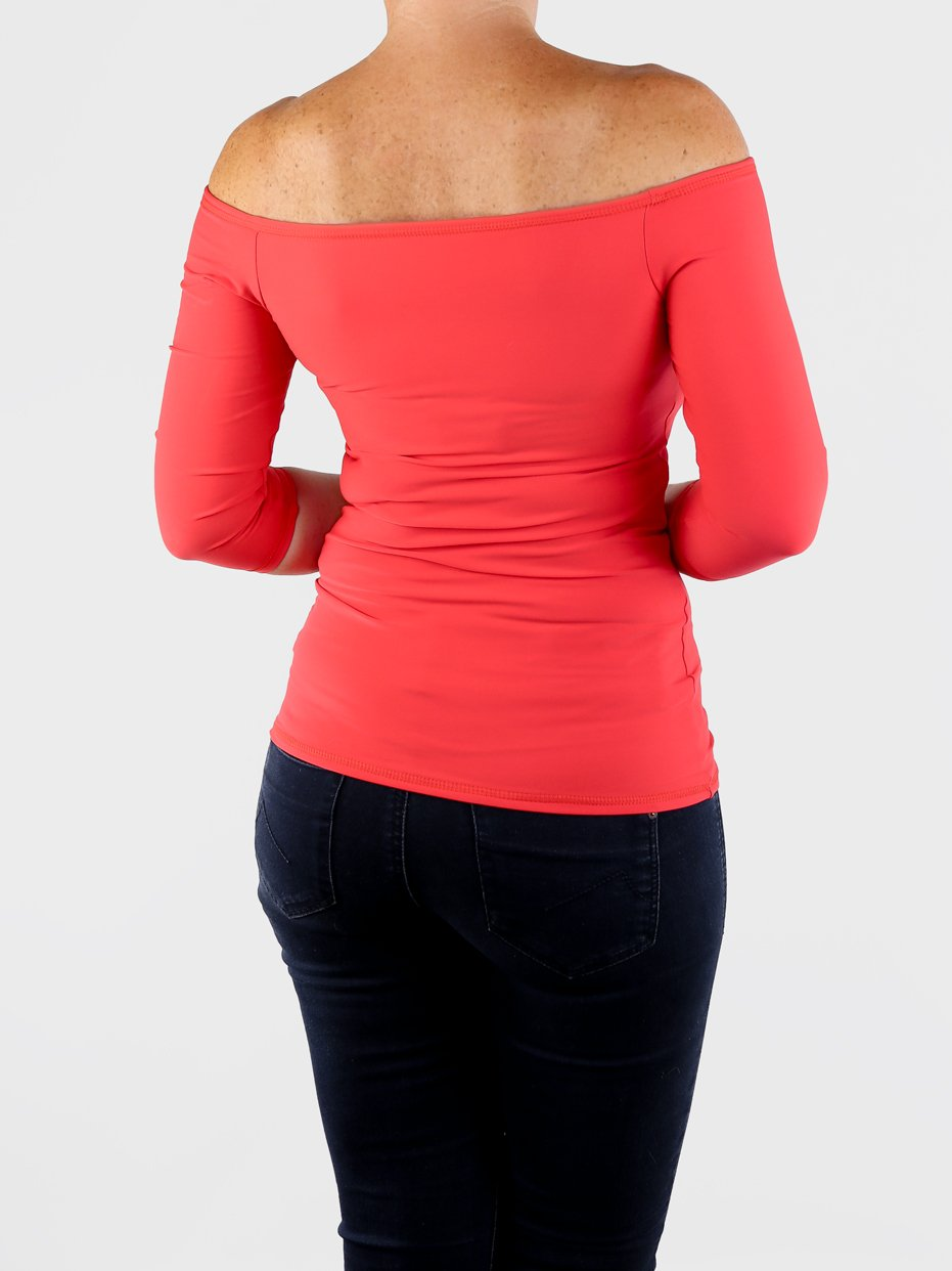 Custom Sexy Fitted Red Women's Off One Shoulder Tops - 4