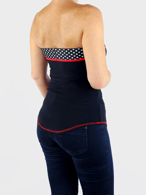 Cute and Unique Strapless Summer Black Polka Dots Bandeau Tops - 1