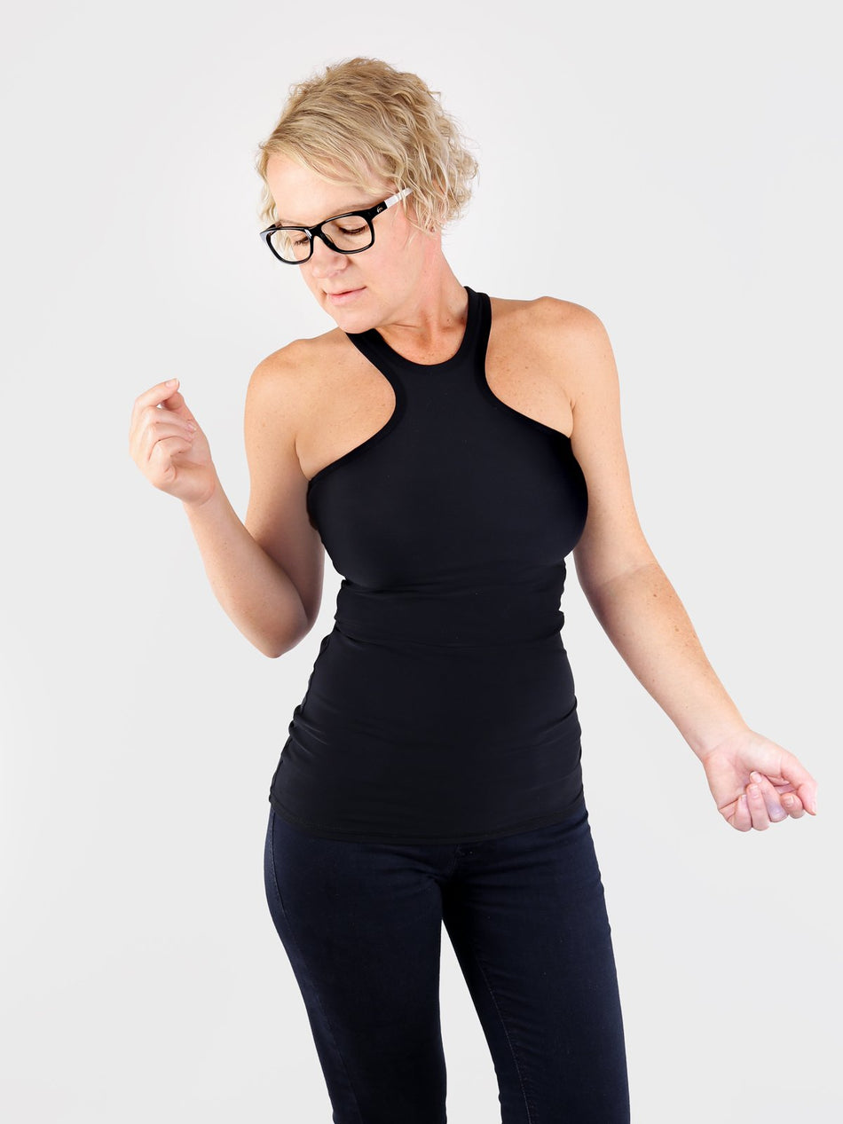 Sexy Black Racer Front Tank Top for Workout and Streetwear - 5