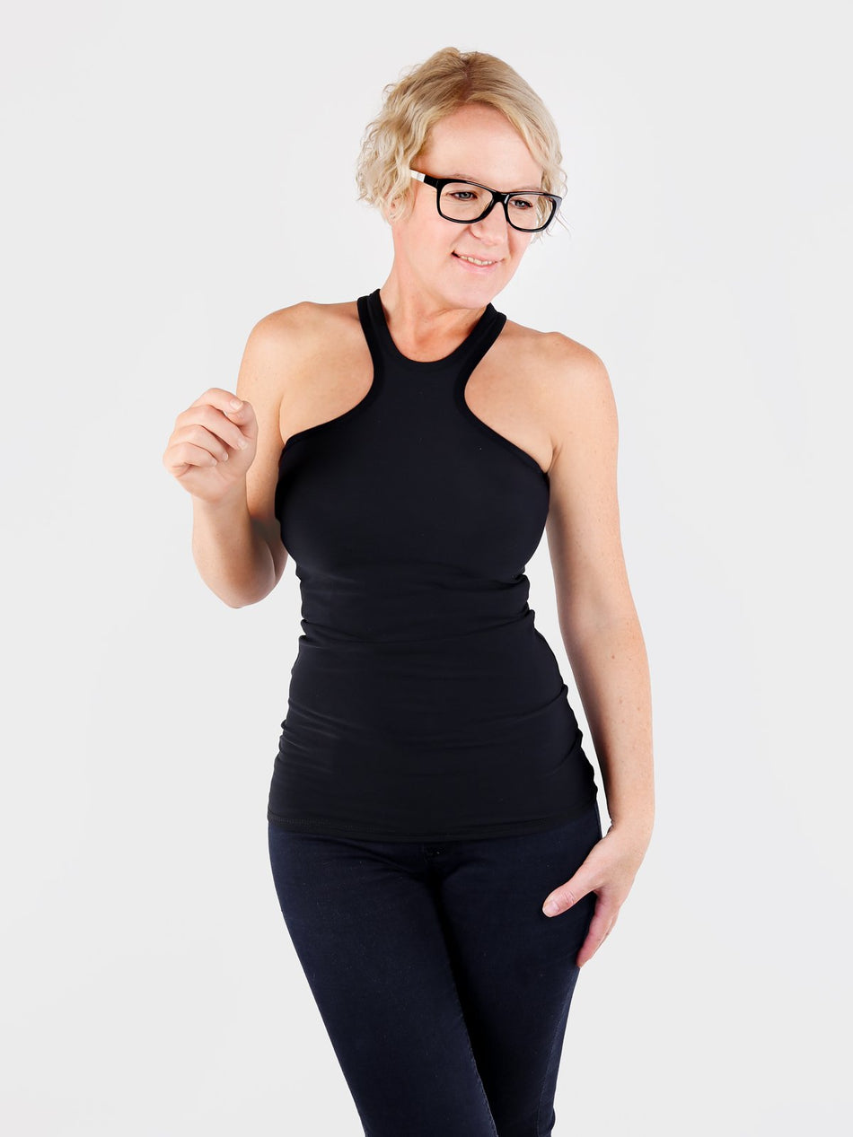 Sexy Black Racer Front Tank Top for Workout and Streetwear - 1