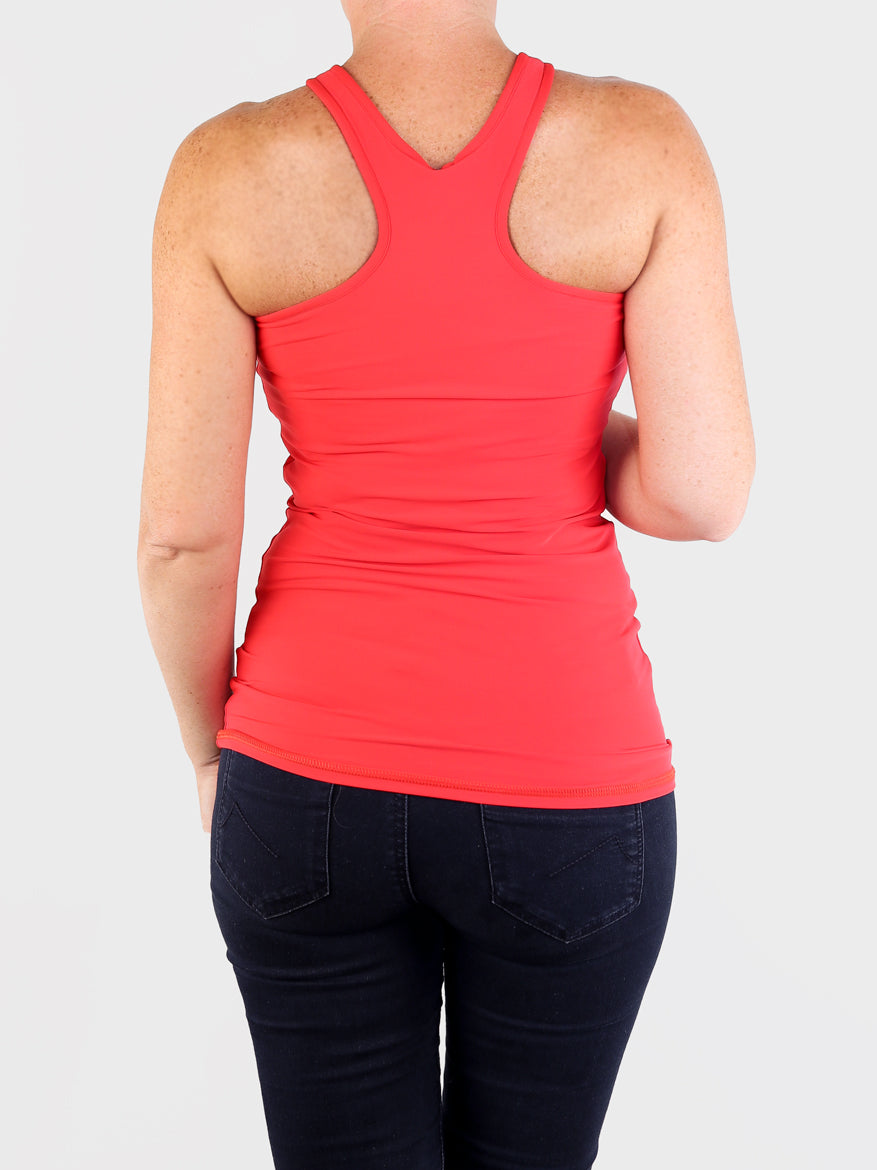 Extravagant Women's Red Front Racer Tank Top for Yoga and Streetwear - 4
