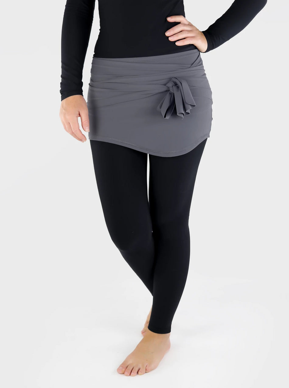 Pull On Stretch Cover Up Mini Wrap Skirt - Ideal Layering for Leggings - 6