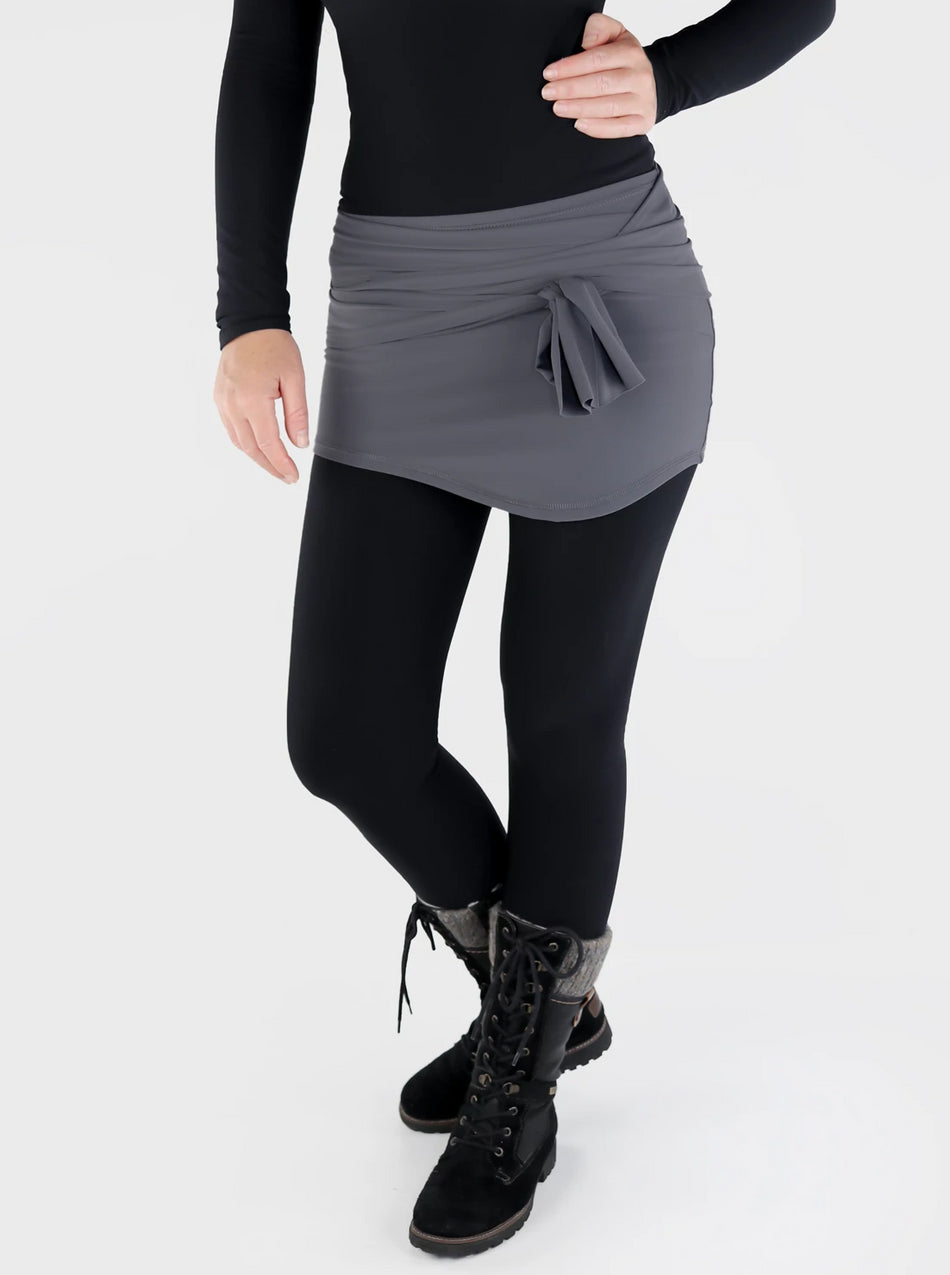 Pull On Stretch Cover Up Mini Wrap Skirt - Ideal Layering for Leggings - 1