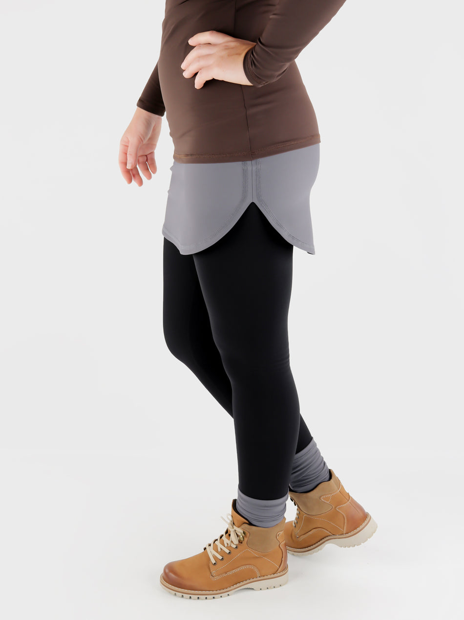 Stretch Pull On Gray T-Shirt extender Band for Pants - Layering Skirt - 5