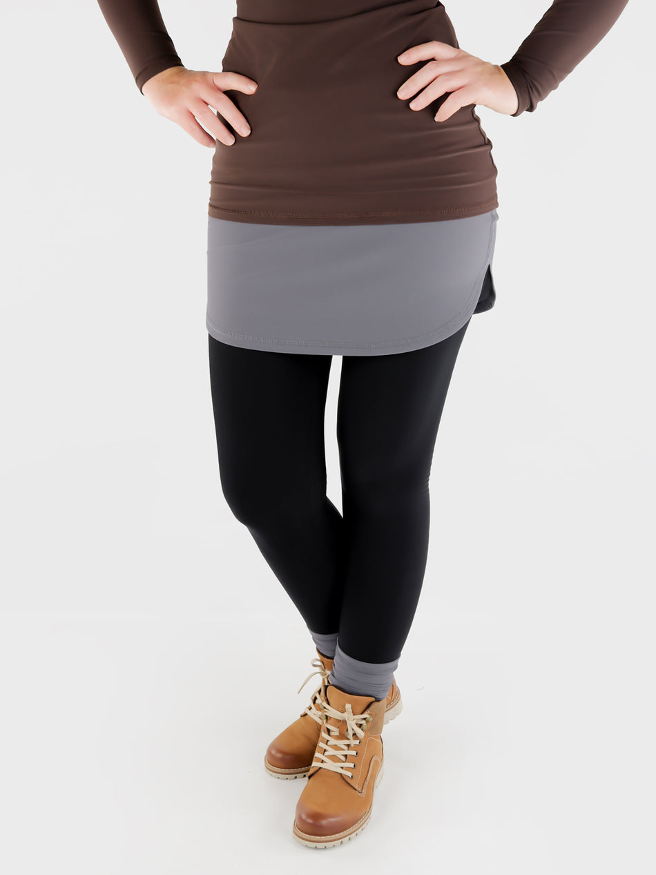 Stretch Pull On Gray T-Shirt extender Band for Pants - Layering Skirt - 8