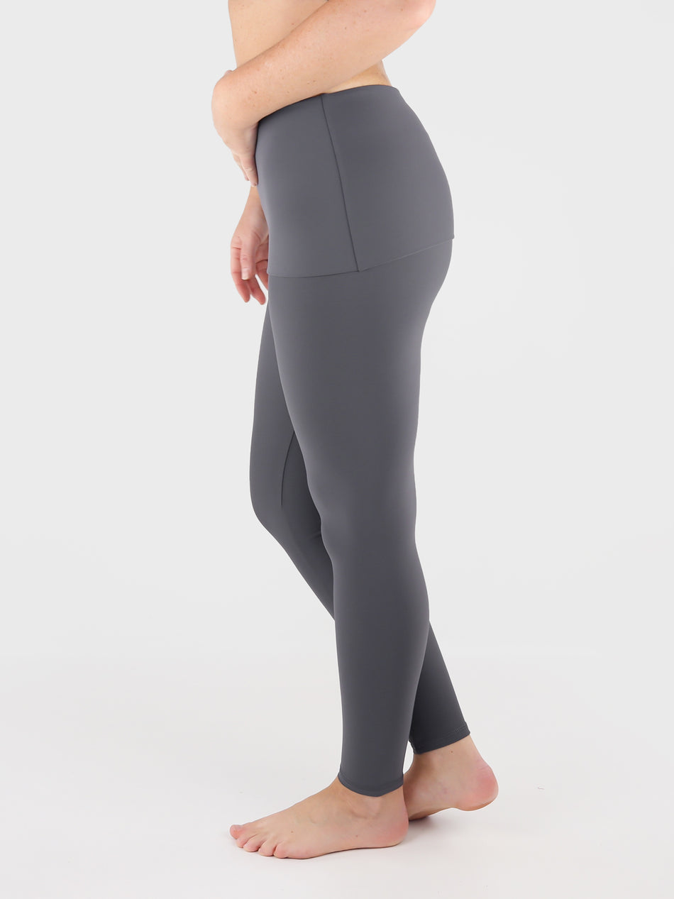 Customisable Body Shaping Gray Fold Over Yoga Pants Leggings - 3