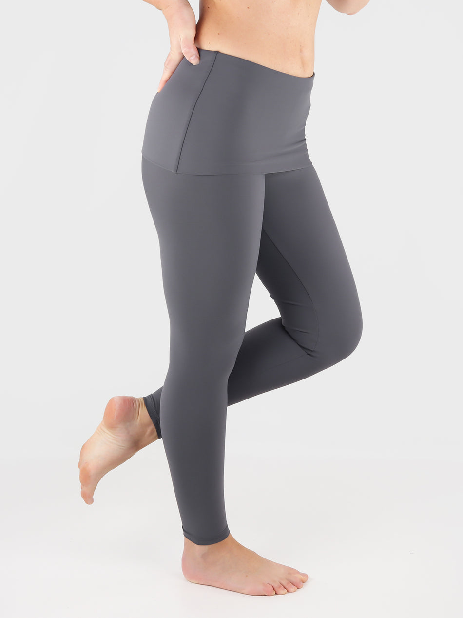 Customisable Body Shaping Gray Fold Over Yoga Pants Leggings - 4