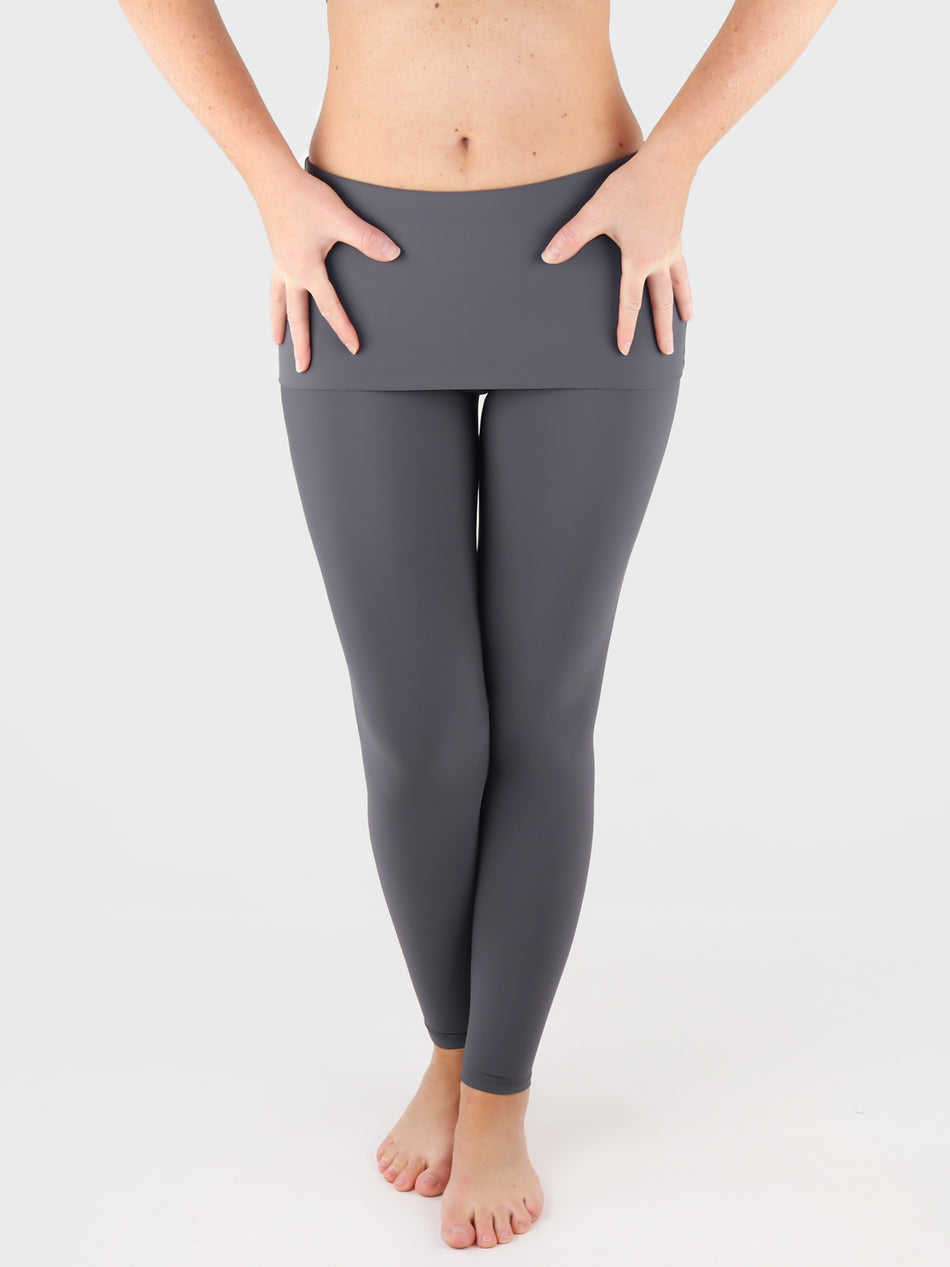 Customisable Body Shaping Gray Fold Over Yoga Pants Leggings - 6