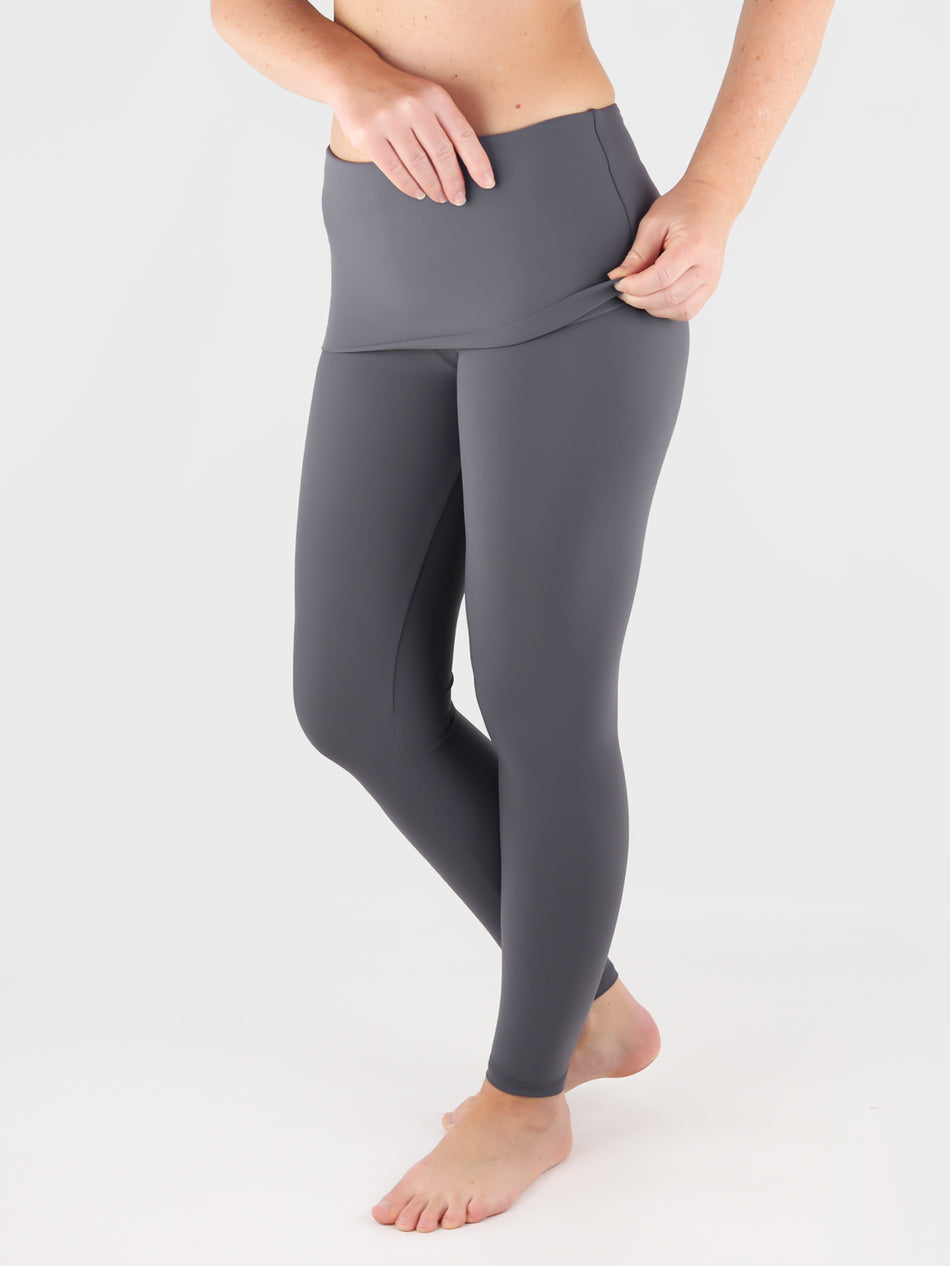 Customisable Body Shaping Gray Fold Over Yoga Pants Leggings - 1
