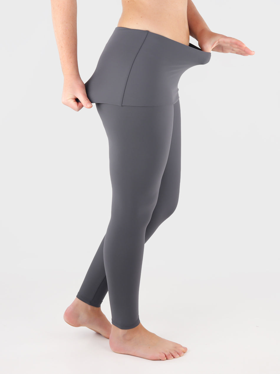Customisable Body Shaping Gray Fold Over Yoga Pants Leggings - 7