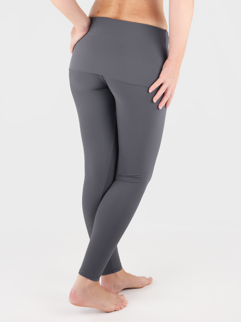 Customisable Body Shaping Gray Fold Over Yoga Pants Leggings - 8